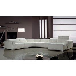 Tempo Contemporary White Leather Sectional Sofa  sc 1 st  Pinterest : black and white leather sectional - Sectionals, Sofas & Couches