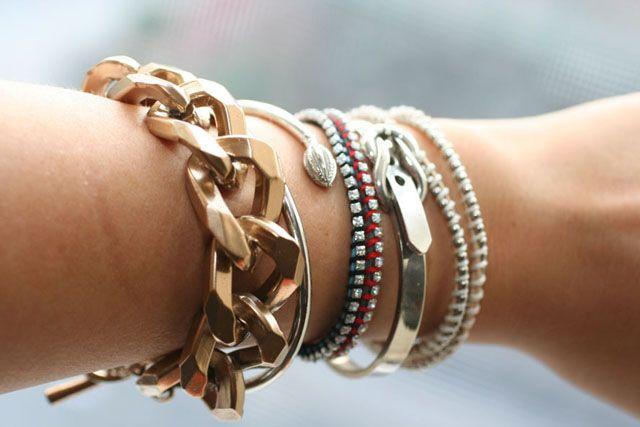 rhinestone bracelets and spray painted gold metal bracelet