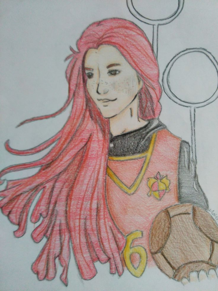 30 day drawing challenge | favorite movie character.  Bonnie Wright acting as Ginny Weasley
