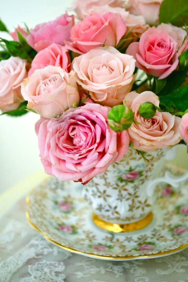 beautiful flowers in a tea cup high tea decoration