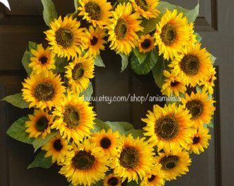 Spring Wreath Sunflower Bouquet Wall Decor Yellow by LuxeWreaths