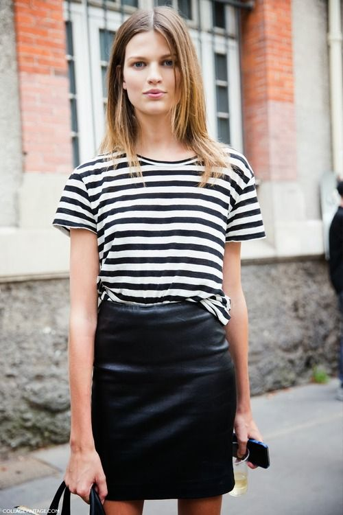Leather + stripes. Oh, so nice! #styleeveryday