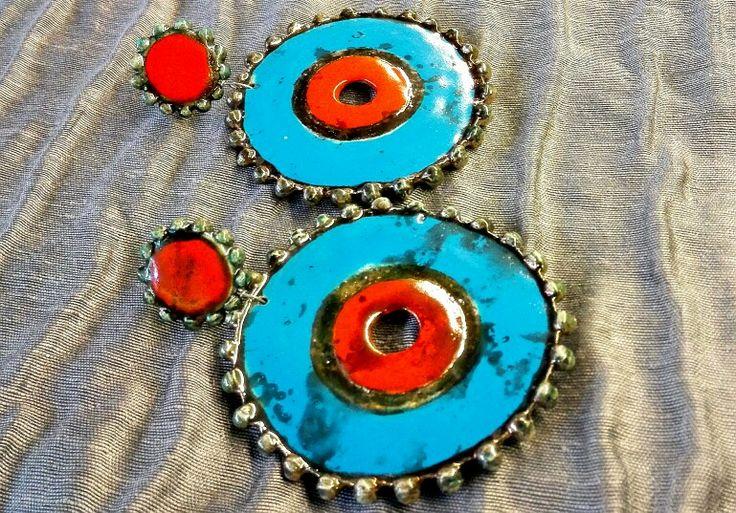 Raku ceramics Earings handmade in Italy VulcanicaGioielliMilano www.vulcanica-milano.it