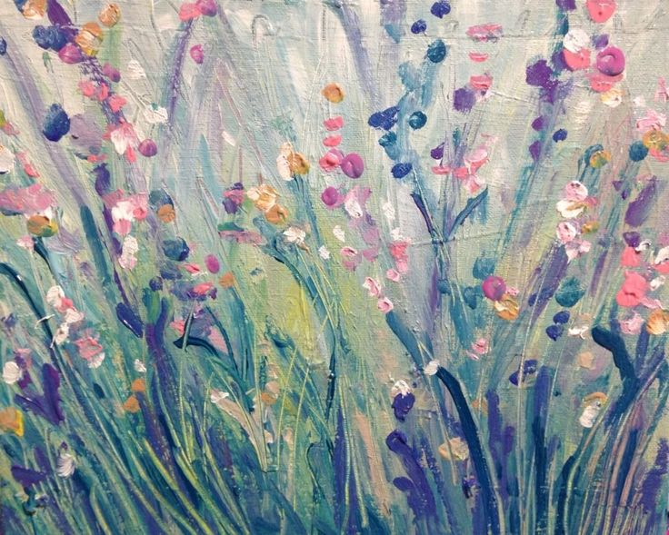 Original Pastel Flower Semi Abstract Painting By Artist JoJo Spook
