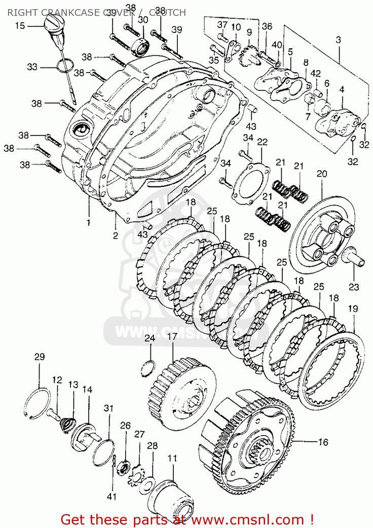 Honda Xl175 K0 1973 Usa Right Crankcase Cover / Clutch