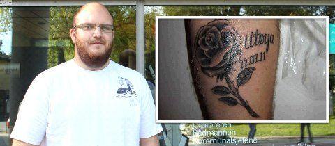 Jaran Berg har tatovert inn en rose på underarmen for å hedre ofrene etter terroraksjonen på Utøya 22. juli.