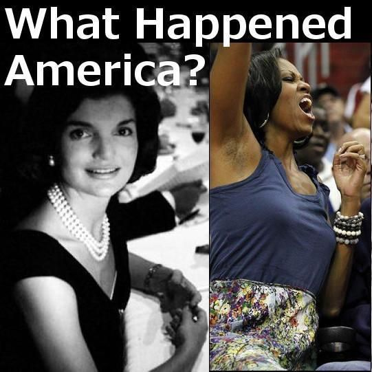 Michelle Obama, Jackie Kennedy Meme, each acting normally.