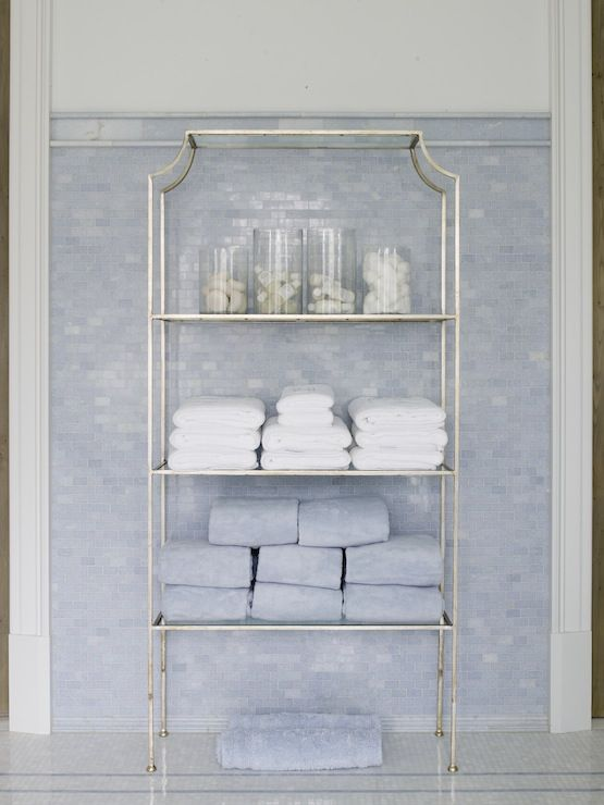 Phoebe Howard - bathrooms - Worlds Away Chloe Etagere Silver Leaf With Clear Glass Shelves, glass, hurricanes, white, blue, towels, marble, tiles, backsplash, floor, etagere, silver etagere, bathroom etagere, silver bathroom etagere, bathroom storage, bathroom shelving,
