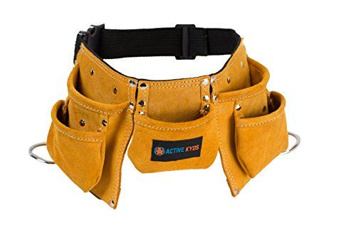 Awesome kids tool belt, just like dad's!!  Active Kyds Premium Kids Leather Tool Belt, Steel Hammer Loops