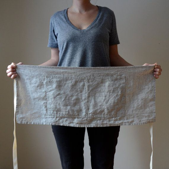 Cafe Apron in Flax Linen by smallbatchproduction - 29 x 12 inches with 2 pockets