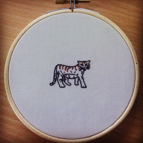 Tiger Endangered Species Hand Embroidery 4 inch by ArtsforAnimals
