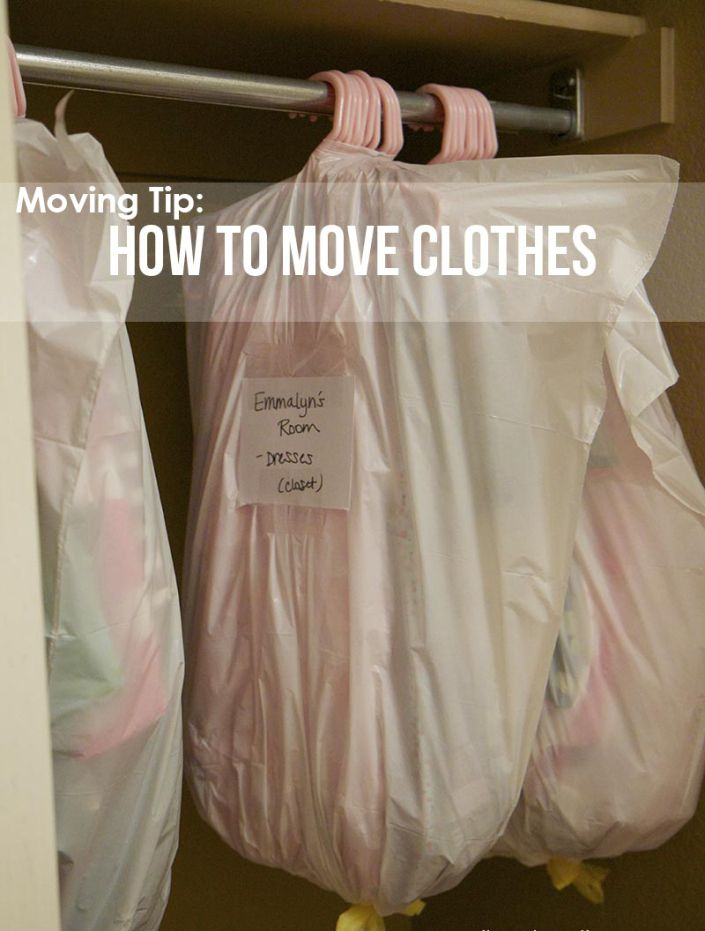 moving tips: clothes in garbage bags, color coded duct tape by room, spices in crock pot, glasses in wine case, clear tape for screws, use luggage for books