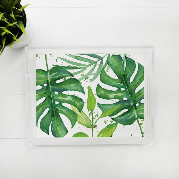 Lucite Tray - Tropical Leaves