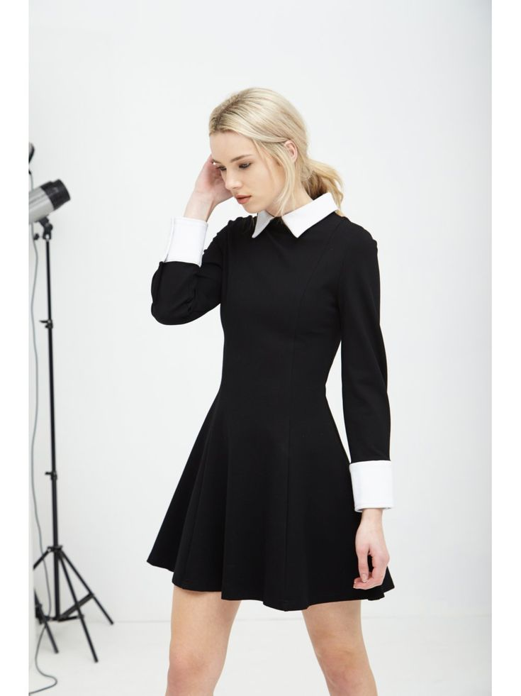 Black Amp White Structured Long Sleeve Collar Cuff Dress