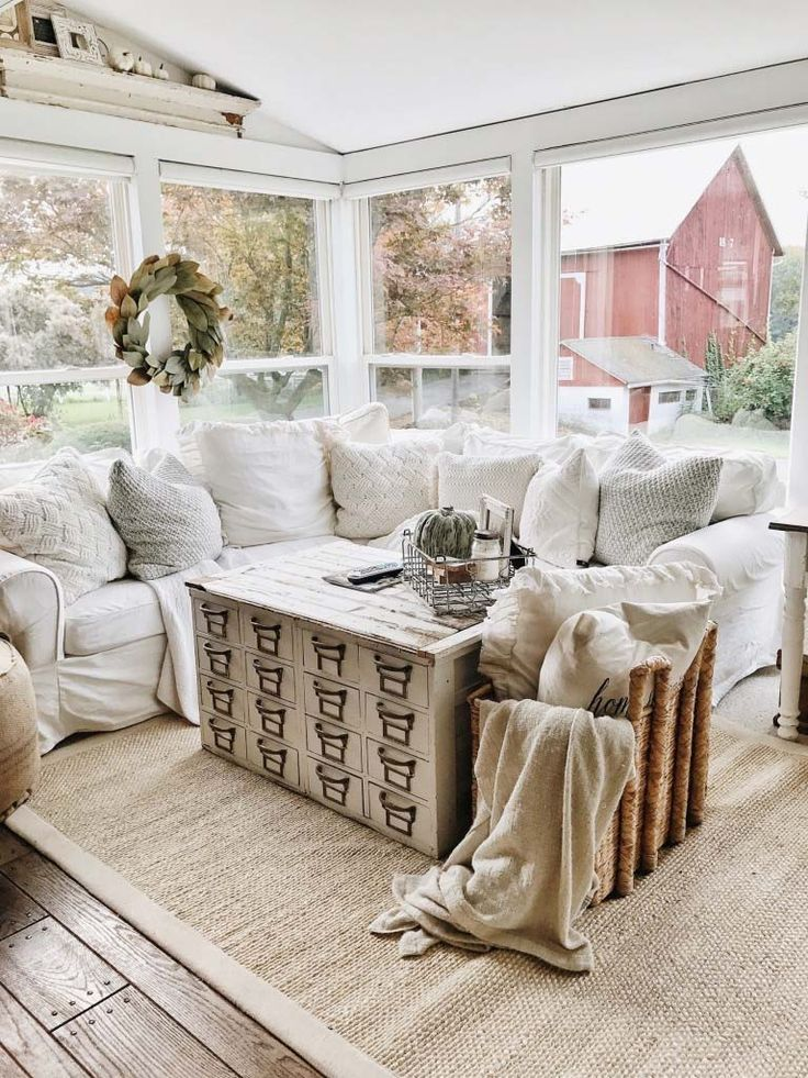 589 best interiors and exteriors images on pinterest for Farmhouse sunroom ideas