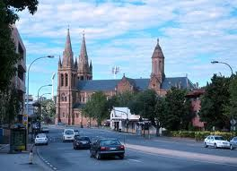 View of St Peter's Cathedral, from King William Rd, North Adelaide. South Australia.