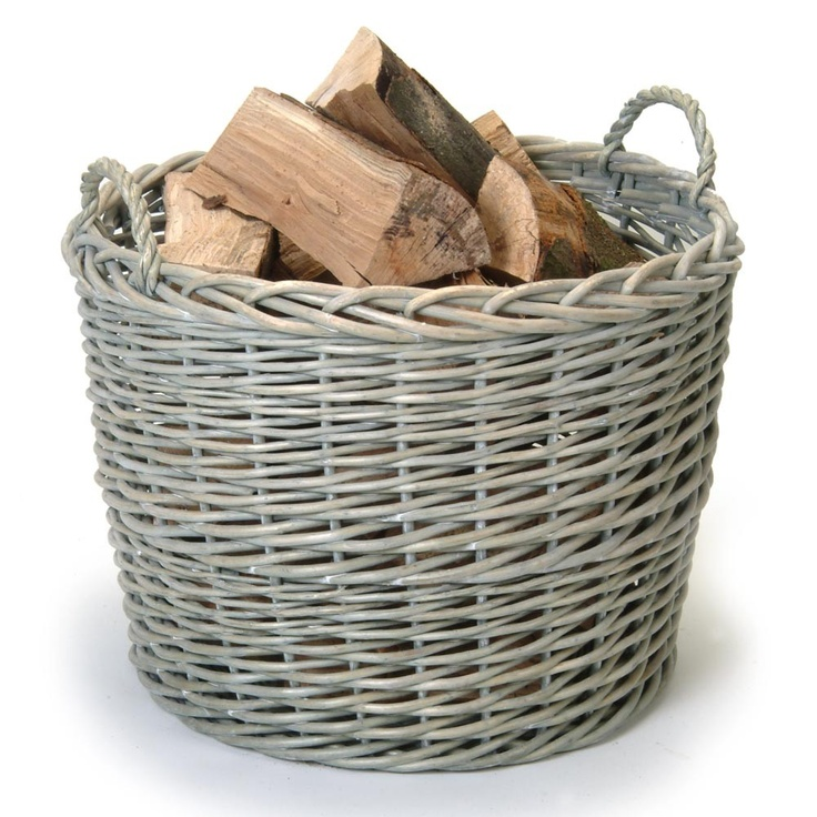 Garden Trading - Giant Round Wicker Log Basket - Light Grey