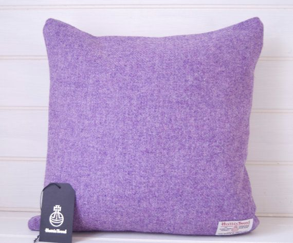Harris Tweed Purple Cushion Cover  throw pillow by GreenCallow
