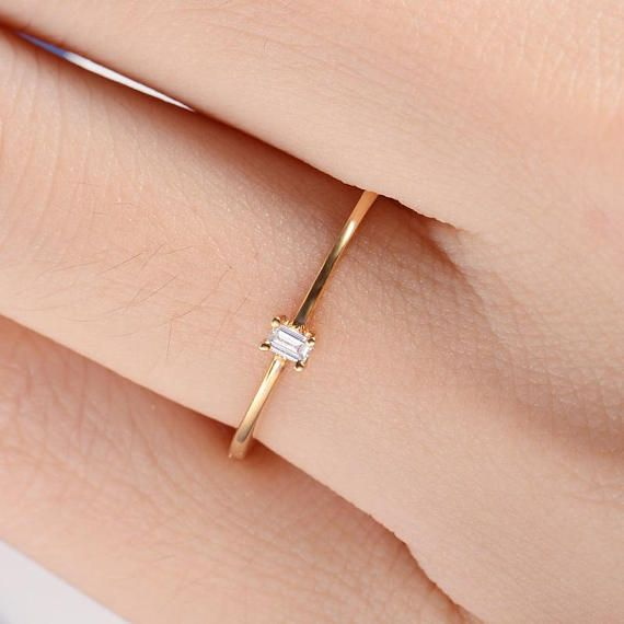 14k Gold Diamond Baguette Ring  Tiny Delicate Minimalist Baguette Diamond Ring  Baguette Wedding Ring   White  Rose  Yellow Gold