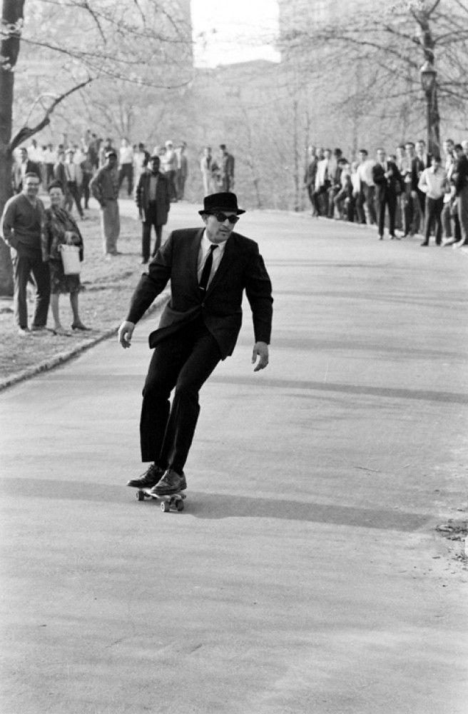 Gregory Peck on a skateboard.
