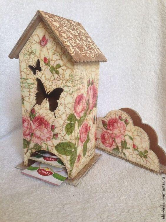 """Купить Чайный домик с салфетницей """"Розы"""" - бежевый, чайный домик, чайный набор, для чайных пакетиков:"""