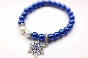 Śnieżynka z kryształkami | Niebieskie błyszczące koraliki