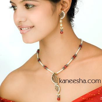 Red/Pearl Pendent Set