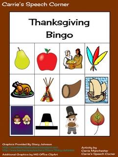 Carrie's Speech Corner:  Thanksgiving Bingo FREE download