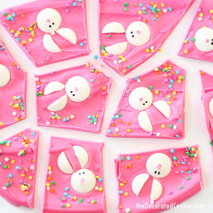 This cute Easter bunny bark takes minutes to make.  Easter bunny bark! First we had the snowman chocolate bark, then the love bug chocolate bark, and now I'm back with Easter bunny bark. Here are the reasons why you need to make some chocolate bark: It's easy, it takes minutes, it's cute, and it...Read More »