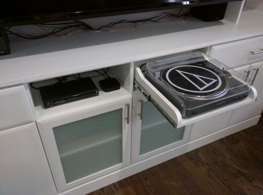 Pull Out Turntable Shelf For A Custom Built In Media