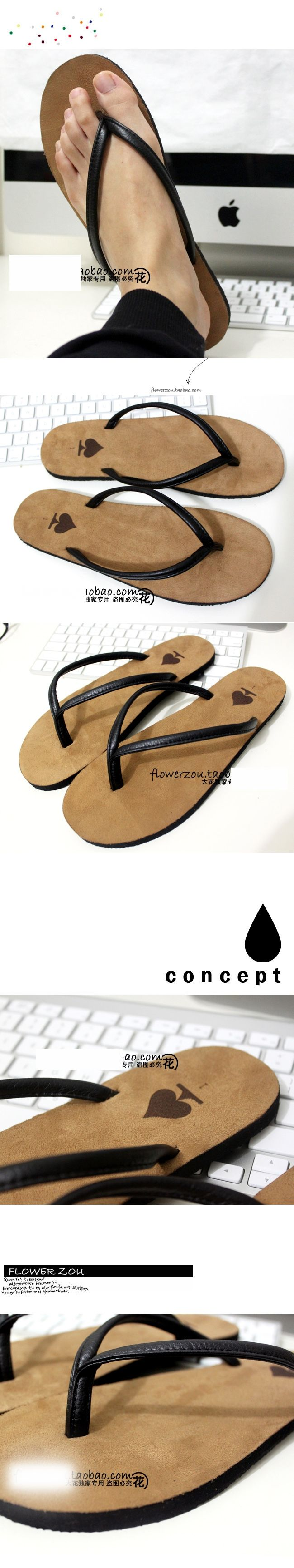 The escape of a gentleman Gray flip-flops male South Korean couples sandals flip-flops on EdithJewelry.com