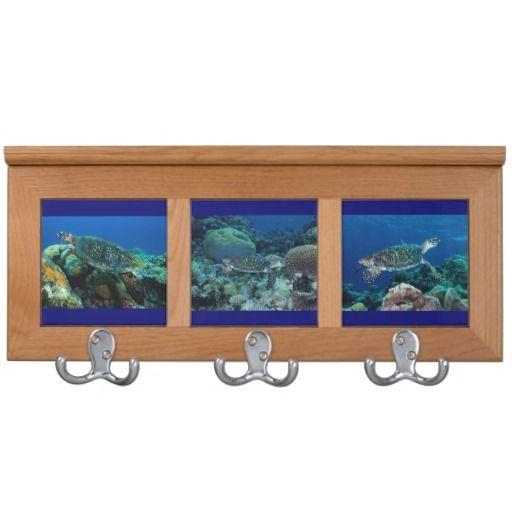 A cool coat racks featuring a trio of prints of the many sea turtles found on Australia's Great Barrier Reef. #turtle #turtles #seaturtle #hawksbill #hawksbillseaturtle #ocean #sea #nature #wildlife