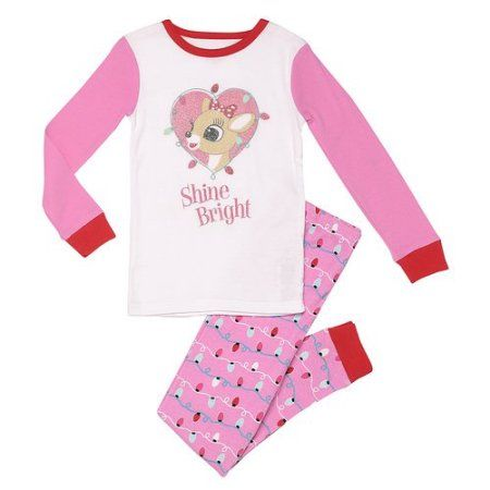 Rudolph Toddler Girl Shine Bright Snug Fit 2 piece set, Size: 4 Years, Pink