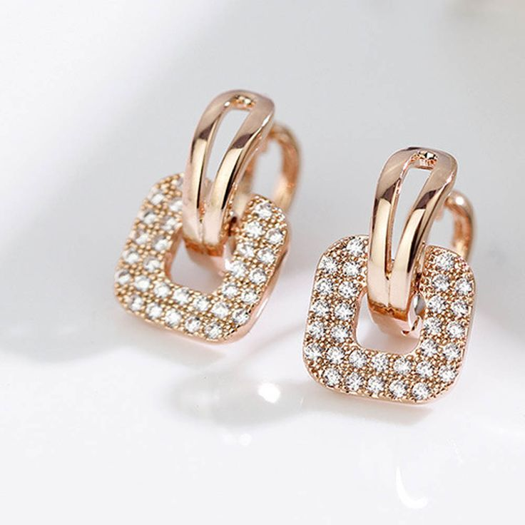 #AliExpress Fashion Silver Gold color Full Crystal Rhinestone Square Stud Earrings For Women Temperament Statement Jewelry Piercing Earring (32796746117) #SuperDeals