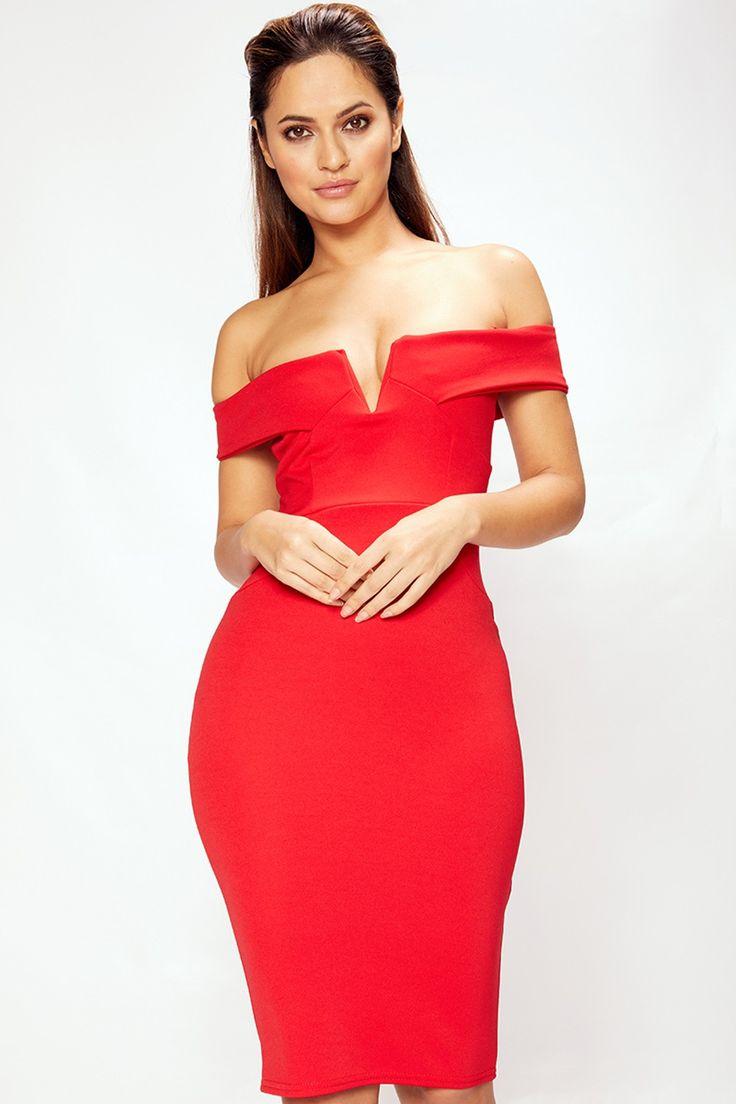 Natasha Red Bardot Midi Dress