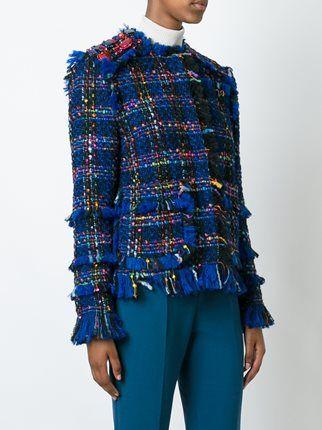 MSGM твидовый пиджак с бахромой