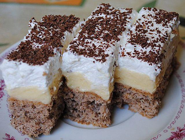 Habos-krémes diós sütemény