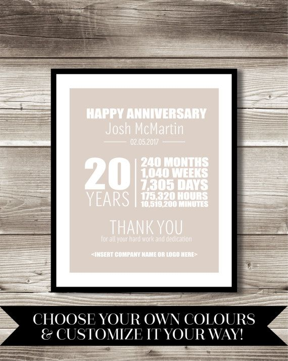 20 Year Work Anniversary Print Gift Idea Customizable Thank Etsy Work Anniversary Employee Recognition 25 Year Anniversary Gift