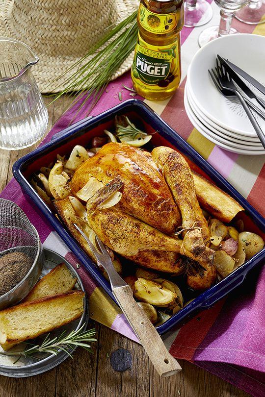 #Poulet au #citron et #pain, #pommes #rissolées