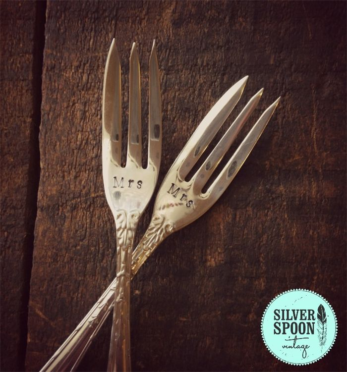 Hand stamped vintage cake forks - Mrs Mrs | Silver Spoon Vintage | madeit.com.au https://www.madeit.com.au/Main/Item?itemId=948700 same sex marriage / gay wedding gift