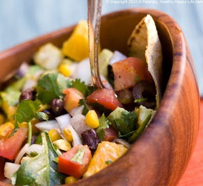 #Vegan Mexican Fiesta Salad, with Zesty Lime-Agave Dressing.
