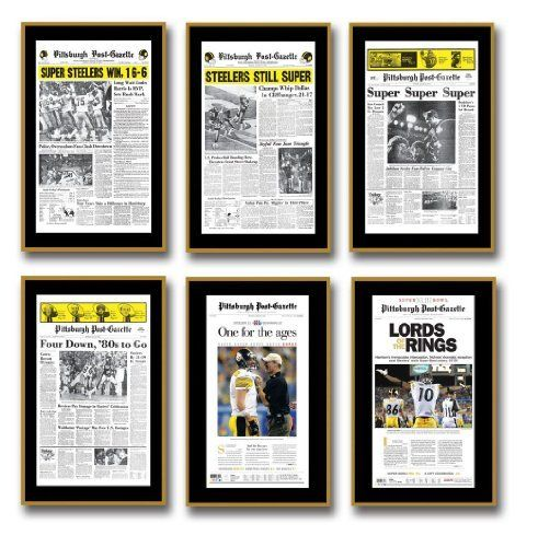 "Pittsburgh Post-Gazette Super Bowl Plaques Set of 6 by Pittsburgh Post-Gazette. $399.99. Celebrate all six of the Steelers' Super Bowl wins with this set of six plaques. Each plaque sports a reproduction of the front page of the Post-Gazette from the day after each win. the plaques have a black border with a gold bevel edge surrounding the page and are ready to hang on your wall. Size: Each plaque is 14½"" x 22½"" Please allow 3-4 weeks for delivery."
