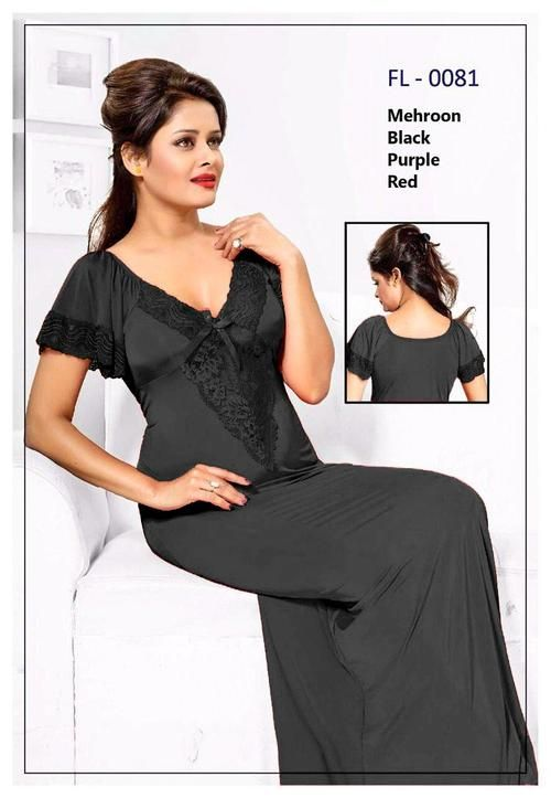 67138e3a32 Black Stylish FL-0081 - Flourish Exclusive Bridal Nighty Set Collection