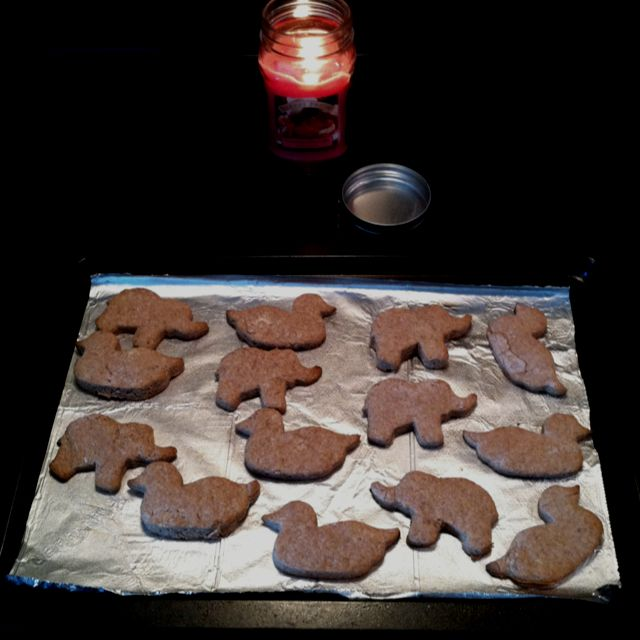 Baby Teething Cookies =] 1cup flour, 1cup infant rice cereal, 2tsp cinnamon, 1 mashed (ripe) banana, 2Tbsp veg. oil, 3Tbsp water-- place on greased cookie sheet in 425* oven for 10-12mins