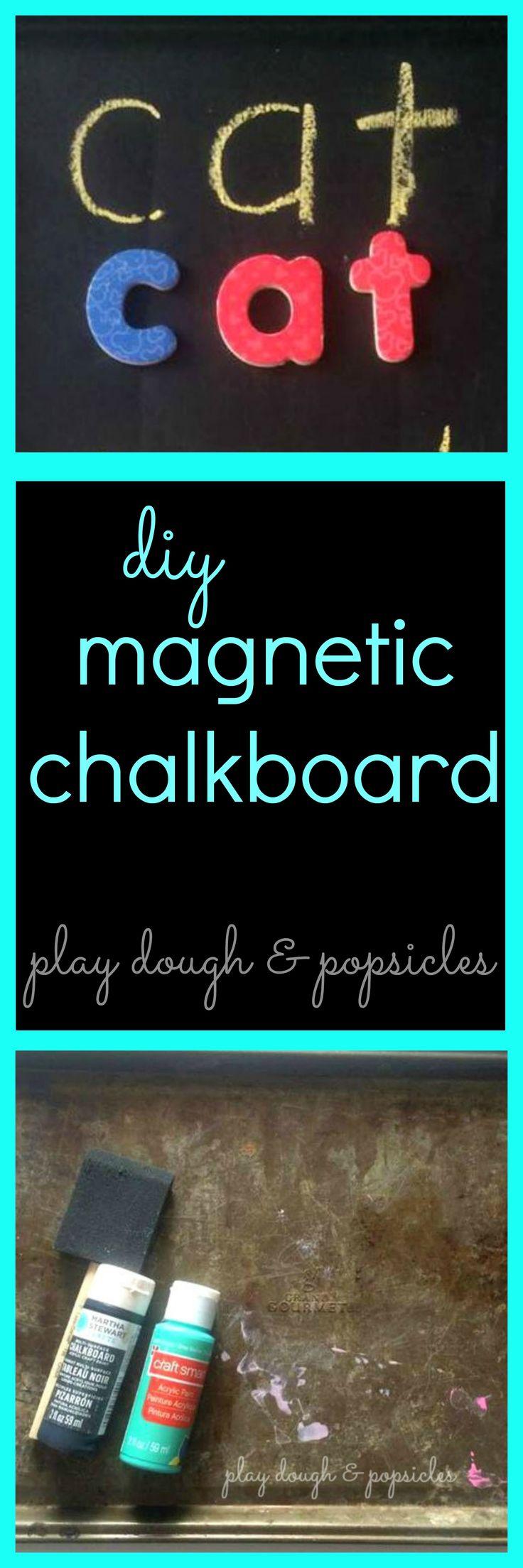 DIY Magnetic Chalkboard for kids or adults. use in kitchen, menu board, or preschool tool for kids.