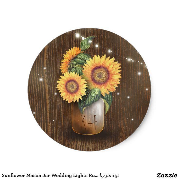 wedding stickers for invitations%0A Sunflower Mason Jar Wedding Lights Rustic Classic Round Sticker