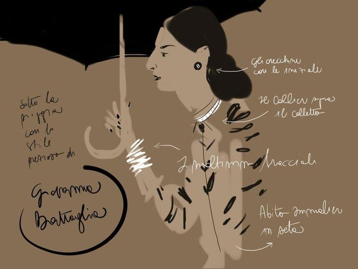 Giovanna Battaglia #portrait #illustration Open Toe, fashion illustrated - Opentoeillustration.com
