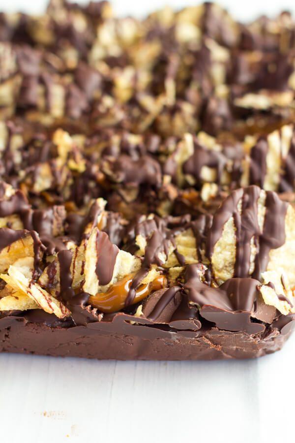 Loaded Peanut Butter Chocolate Covered Potato Chip Dulce De Leche Fudge (+ A KitchenAid Giveaway) | halfbakedharvest.com