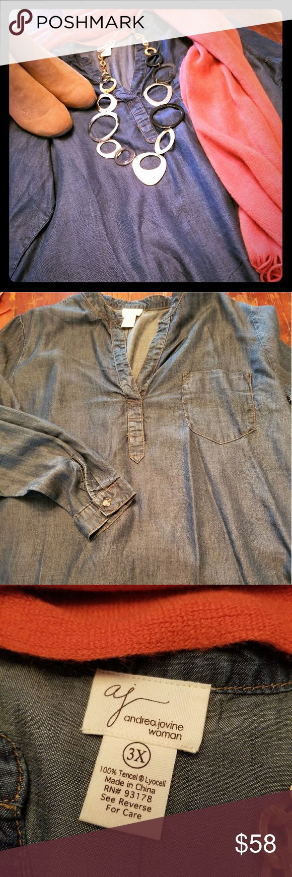 Andrea Bovine denim tunic Soft denim new age fiber tencel which is a natural cellulose fiber from wood. It offers optimum moisture transportation for your skins well-being Andrea Jovine Tops Tunics