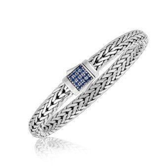 Snyggt Armband i Ormlänk med Blå Safirer För Honom